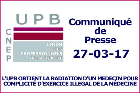 L'UPB obtient la Radiation d'un Médecin