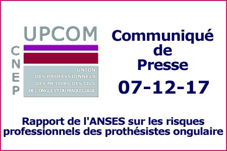 Communiqué: Rapport de l'ANSES sur les risques professionnels