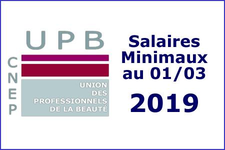 Les salaires minimaux au 1er Mars 2019
